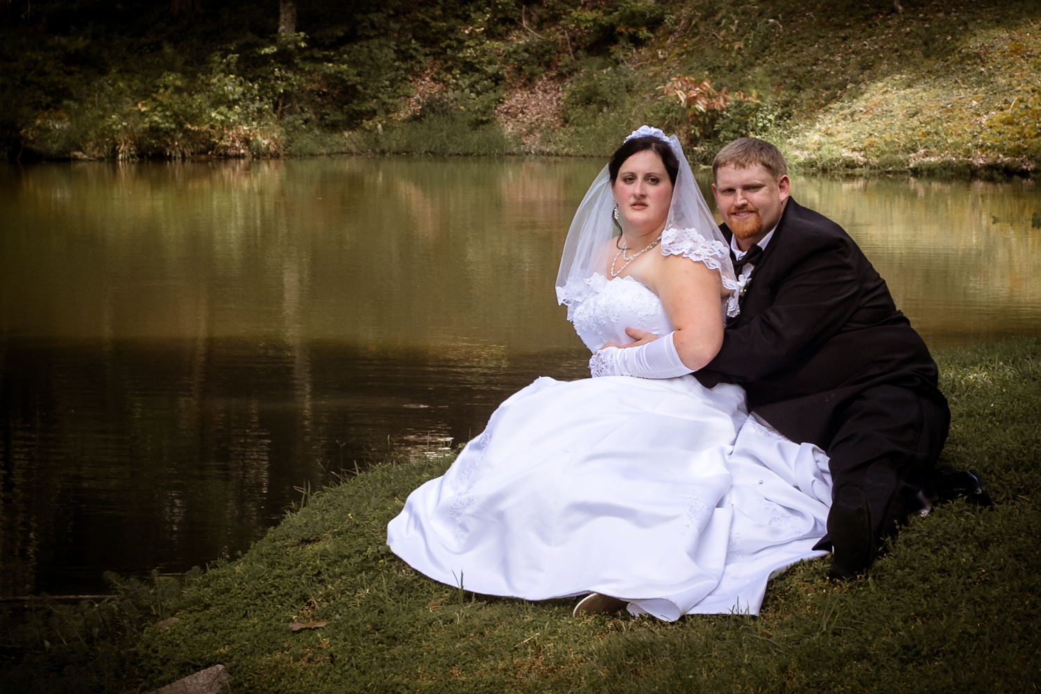 Stephanie and Matthew by the pond